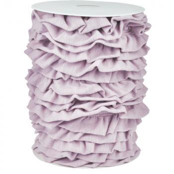 Jersey Volantband rosa/grau melange